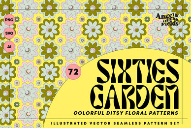Sixties Vector Floral Patterns