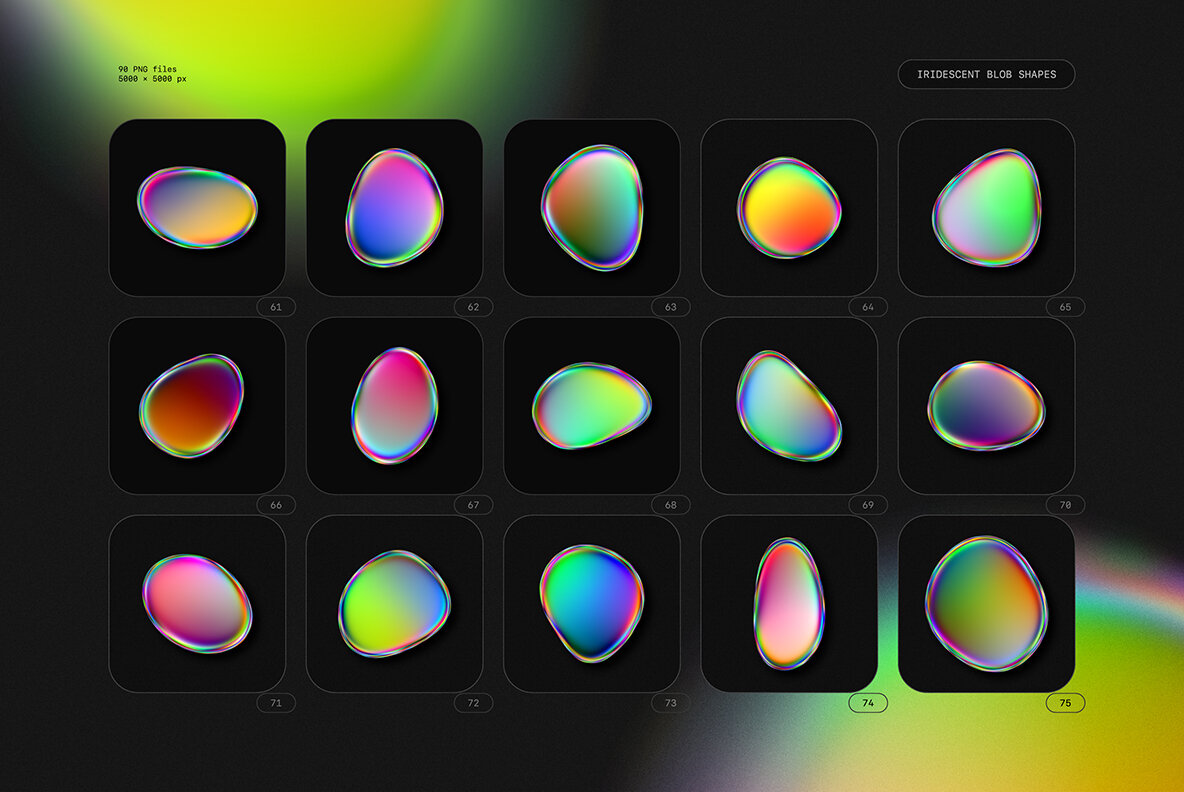 Iridescent Blob Shapes Collection