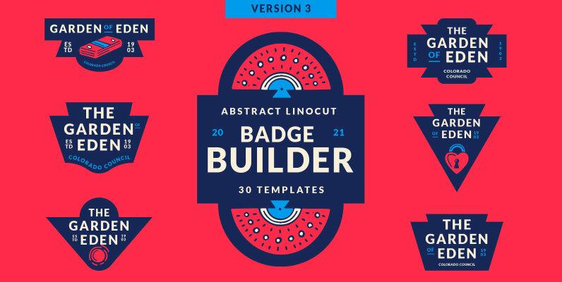 Abstract Linocut Badge Builder V3