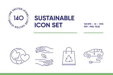 Sustainable Packaging Icon Set