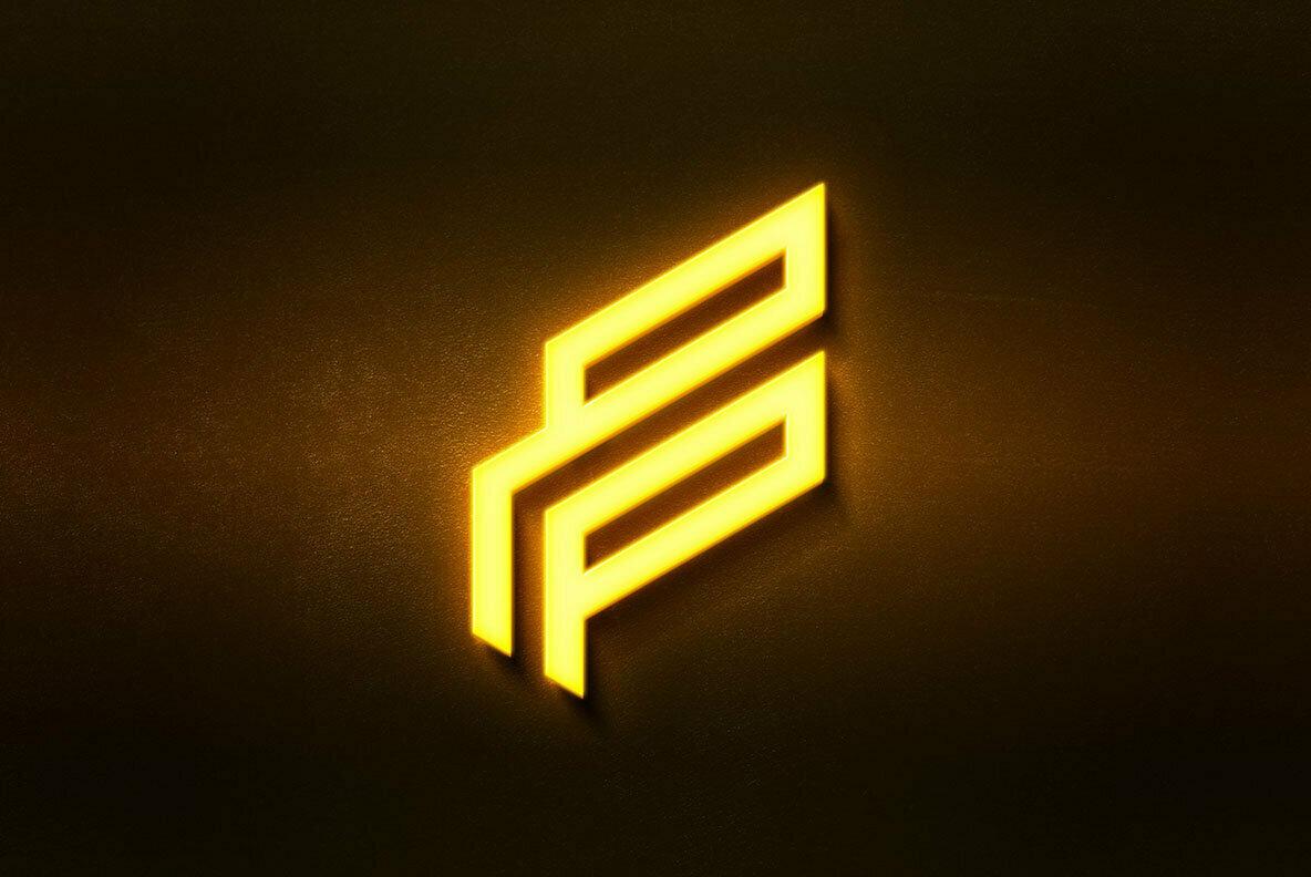 Flashing Neon Logo Mockup