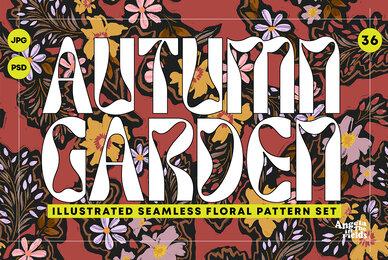Autumn Garden Retro Floral Patterns