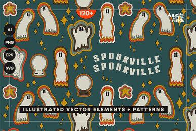 SPOOKVILLE   Retro Halloween Vector Clipart