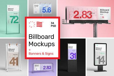Billboard Mockups   Banner  Stand
