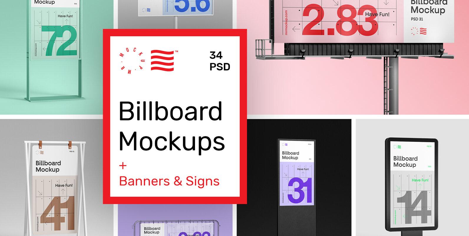 Billboard Mockups + Banner & Stand