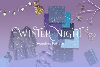 Winter Night Seamless Pattern
