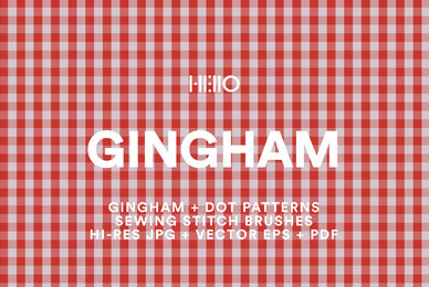 Gingham and Micro Dot Patterns plus Stitch Brushes