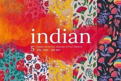 Indian Floral Batik Patterns