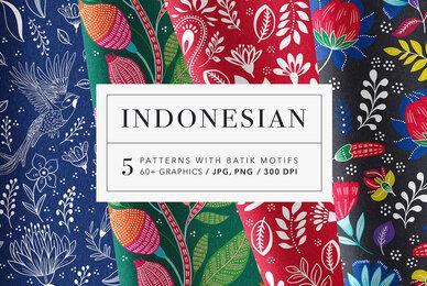 Indonesian Floral Batik Patterns Set