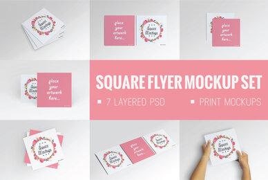 Square Flyer Mock Up Set