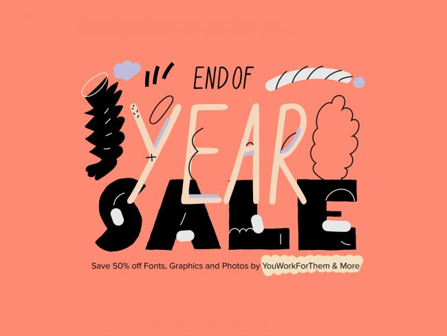 Cyber Monday – Save 50% Off Fonts & Graphics Designed by YouWorkForThem
