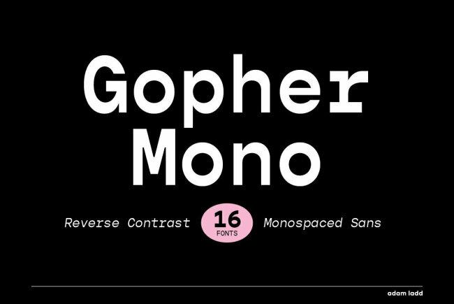 Gopher Mono: A Monospaced Reverse Contrast Sans Serif From Adam Ladd