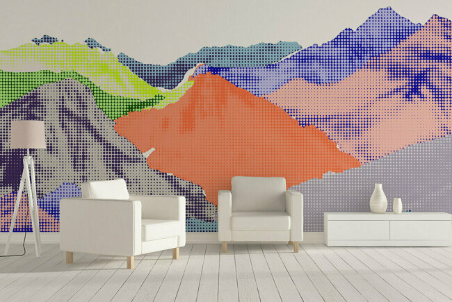 Colorscapes: Mountain Vectors In Halftone Style from Hello Mart