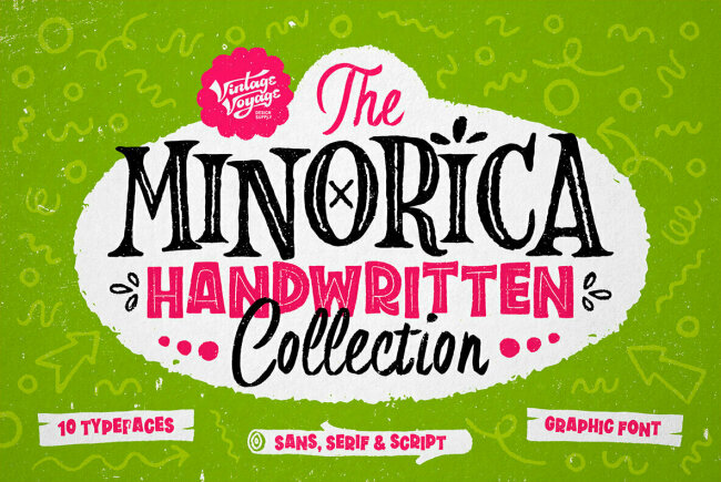 Minorica Handwritten Collection: A Complete Font Kit from Vintage Voyage Design