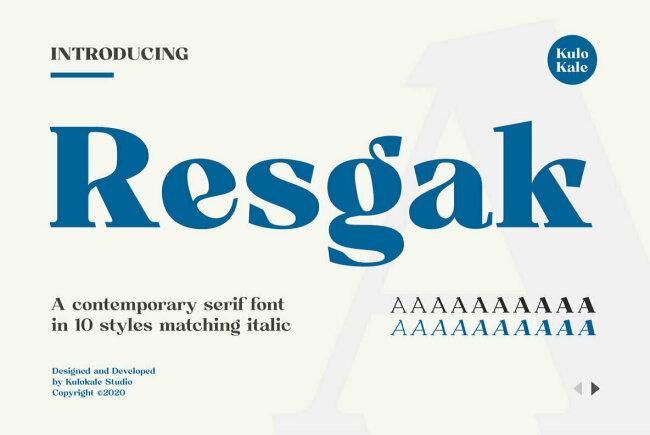 Resgak: A Contemporary Serif Family From Kulo Kale Studio
