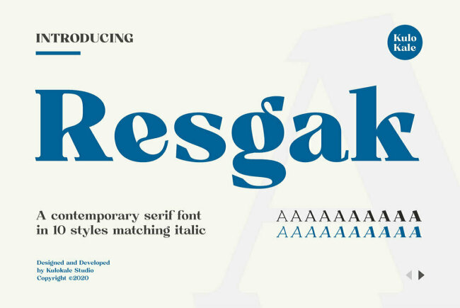Resgak: A Contemporary Serif Family From Kulo Kale Studio