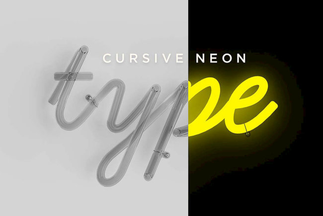 Apply Three Dimensional Lettering With Cursive Neon Type