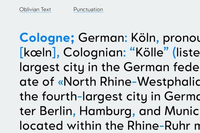 Oblivian Text: A Geometric Sans Serif With Humanist Details