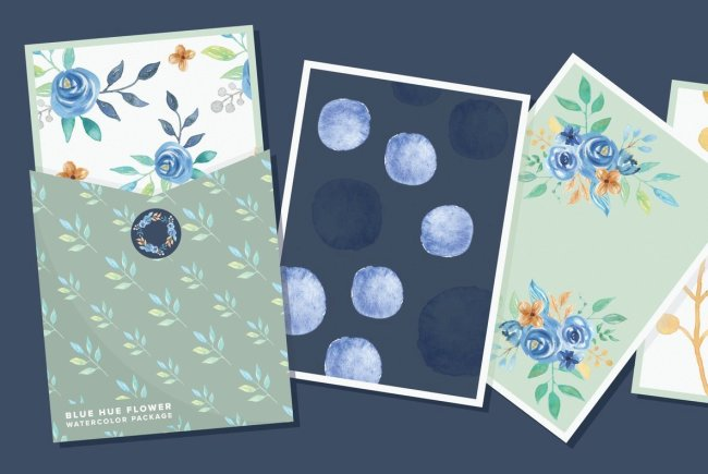 Add Hand-Painted Floral Design Elements With Blue Hue Flower Watercolor Package