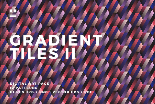 Seamless Geometric Patterns With Bold Ombre Effects: Gradient Tiles II