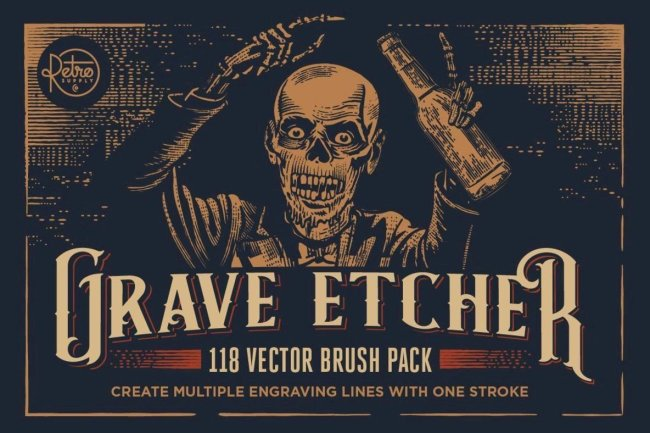 Create Easy Vintage Illustration Effects With Grave Etcher Vector Engraving Brushes