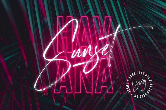 A Trendy Script And Sans Full Of Spirit And Excitement: Havana Sunset