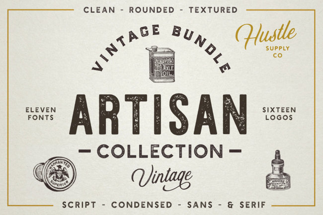 The Artisan Collection Is Packed With Vintage Fonts, Logo Templates, and Badge Shapes