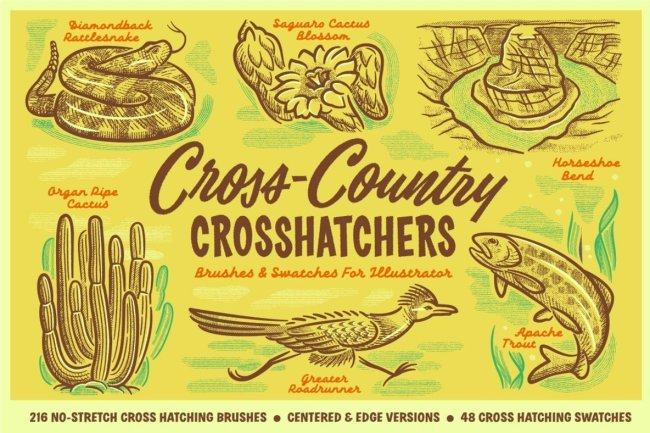 Create Easy Textures And Shading With Cross Country Cross Hatchers for Adobe Illustrator