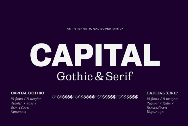A Workhorse Gothic And Serif Family From Emil Bertell: Capital