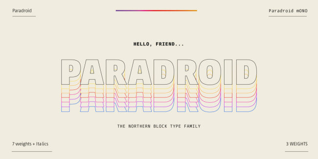 A Pragmatic and Geometric Sans Serif from The Northern Block: Paradroid