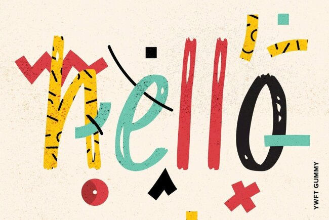 A Sweet And Casual Marker Print Type Design: YWFT Gummy