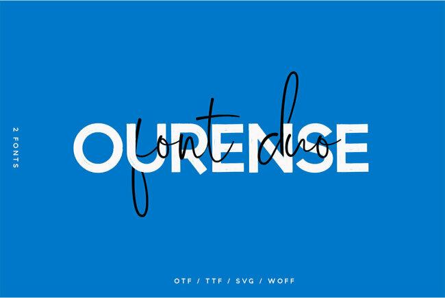 Ourense Font Duo Pairs a Strong Brush Sans Serif With a Gorgeous Handwritten Cursive Script