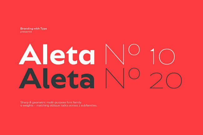 Bw Aleta Is A Geometric Sans That Offers Two Distinctive Moods