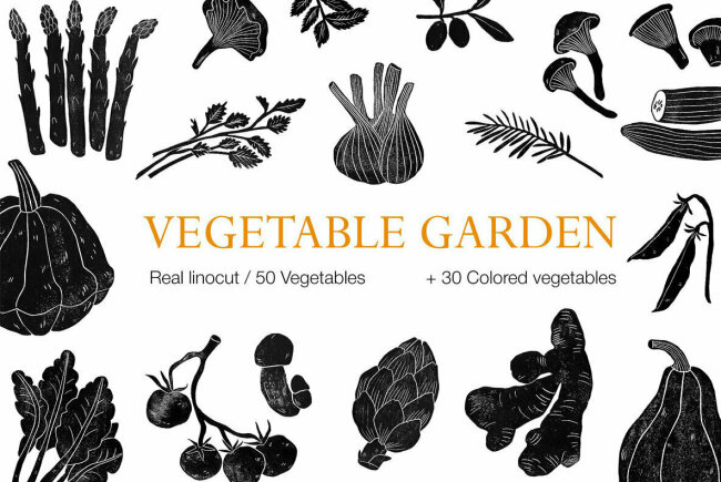Vegetable Garden Offers Tasteful Linocut Illustrations With Organic Textures