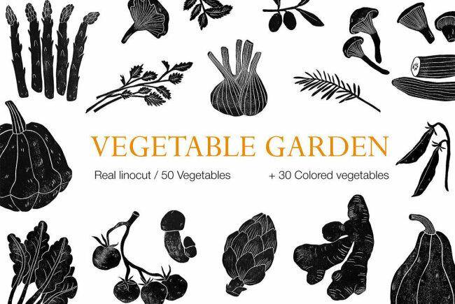 Vegetable Garden Offers Tasteful Linocut Illustrations With Organic Textures