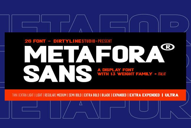 A Bold and Dramatic All-Caps Sans Serif From Dirtyline Studio: Metafora Sans
