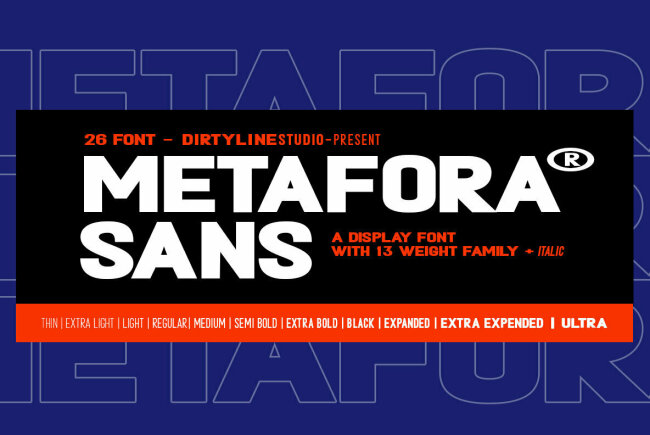 A Bold and Dramatic All-Caps Sans Serif From Dirtyline Studio: Metafora Sans