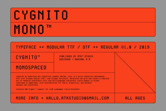 A Debut Type Design From ATK Studio: Cygnito Mono