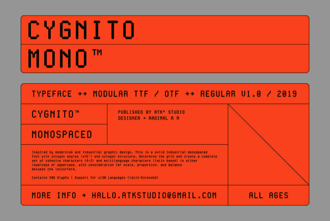 A Debut Type Design From ATK Studio: Cygnito Mono