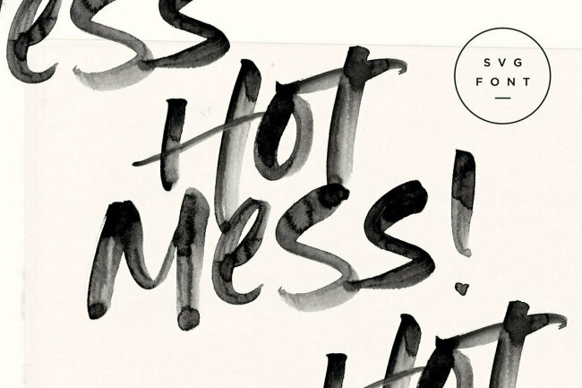 A Watercolor Brush Font With High-Resolution Texture: Hot Mess SVG Font