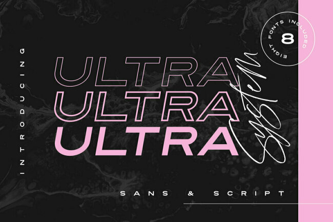Ultra System Font Duo Pairs a Bold Sans With a Handwritten Script