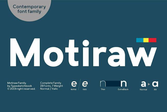Motiraw: A Contemporary Geometric Sans Serif From Typesketchbook