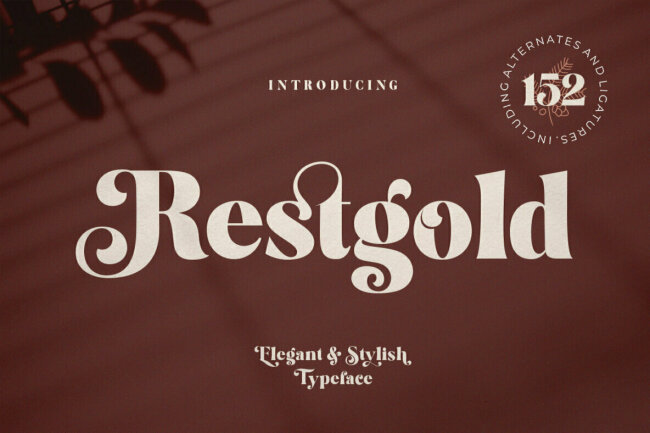 Introducing Restgold From Great Studio: A Bold Serif With Script Detailing