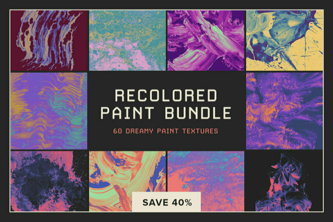 Recolored Paint Bundle – 60 Dreamy Paint Textures