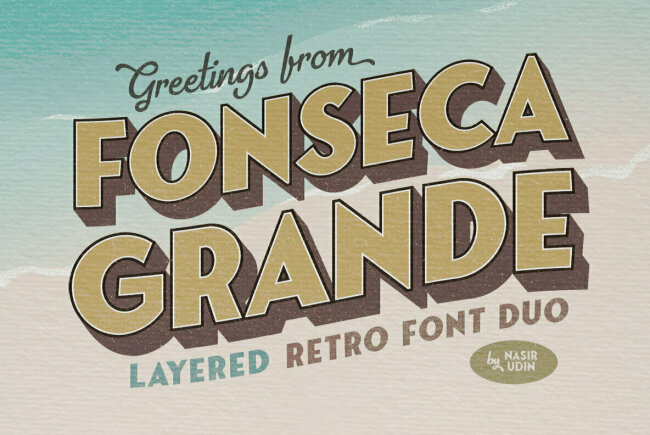 Fonseca Grande: A New Retro Sans and Script Family From Nasir Udin