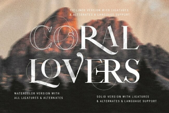 Coral Lovers SVG Watercolor Font Duo From SilverStag