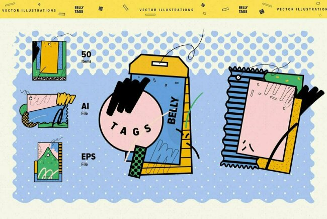 Belly Tags: A Vector Illustration Collection From Our Own Design Studio