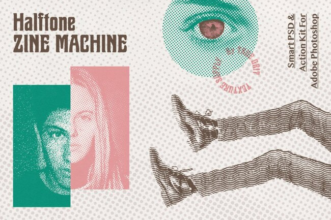 Add Realistic Vintage Copy-Shop Texture With Halftone Zine Machine