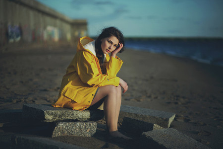 Riverside Girl in Yellow Raincoa