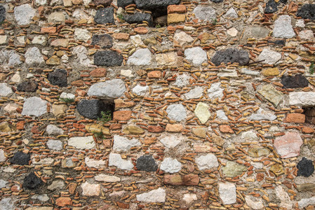 Vintage stone wall with lava
